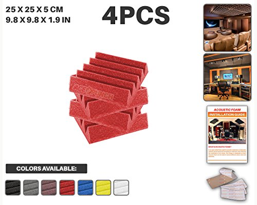 ace-punch-4-pcs-red-wedge-studio-foam-panel-sound-insulation-acoustic-treatment-soundproofing-wall-t
