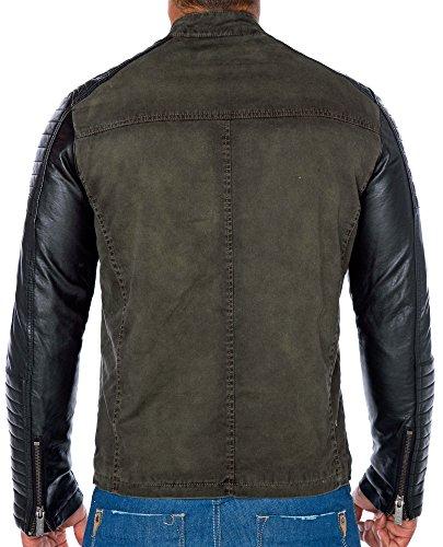 Red Bridge Jacke Herren Biker Kunstleder Lederjacke Redbridge Jacket mit gesteppten Bereichen (XL, Khaki) - 5