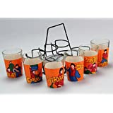 A Krazy Mug Amitabh Bachchan Movie Special Set Of 6 Cutting Chai Glasses With Stand | BOL Bachchan