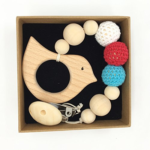 Coskiss Tettarella del clip di legno degli animali Teether Eco-friendly dentizione Beads Crochet Chew cartella con i capezzoli a forma di Rattle regalo di Natale (Color 1)