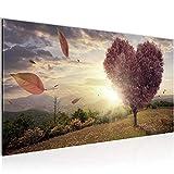 Bilder Herbst Baum Herz Wandbild Vlies - Leinwand Bild XXL Format Wandbilder Wohnzimmer Wohnung Deko Kunstdrucke Braun 1 Teilig - MADE IN GERMANY - Fertig zum Aufhängen 605812c