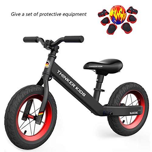 Kinder Fahrrad, 12-Zoll-Air Reifen Kein Pedal-Kinder-Fahrrad Für 2-6 Jahre Alten Jungen Und Mädchen, Verstellbar in Höhe, Anti-Vibrations-Struktur Für Junge Kinder,Schwarz