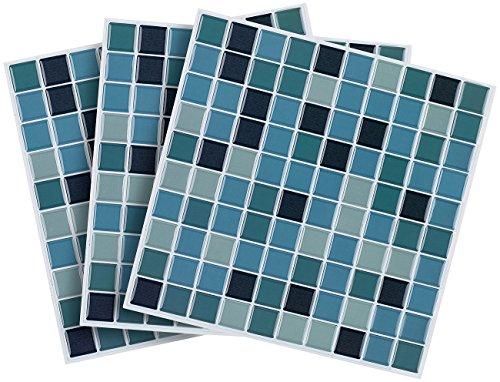 infactory Klebefliesen: Selbstklebende 3D-Mosaik-Fliesenaufkleber Aqua, 26 x 26 cm, 3er-Set (Fliesenaufkleber Bad)