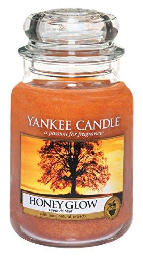 Yankee candle 1315065E Honey Glow Candele in giara grande, Vetro, Arancione, 10.1x9.8x17.2 cm