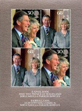 2005Royal Hochzeit von HRH Prince Charles Miniatur Tabelle Nr. 29-Royal Mail Briefmarken