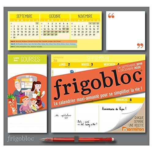 Frigobloc 2020 Hebdomadaire - Calendrier d'organisation familiale par semaine (de sept 2019 à déc 2020): Le calendrier maxi-aimanté pour se simplifier la