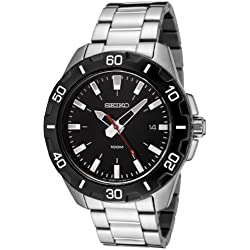 Seiko Men's Quartz Watch with Black Dial Analogue Display and Silver Stainless Steel Bracelet SGEE49P1