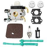 Poweka Carburateur avec joint pour Taille-haie Stihl FS38 FS45 FS46 FS55 FS55C FC55 FS74 FS75 FS76 FS80 KM85