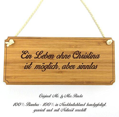 Mr. & Mrs. Panda Türschild Christina Classic Schild - 100% handgefertigt aus Bambus Holz - Anhänger, Geschenk, Vorname…