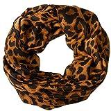 Caspar SC500 Bufanda Infinita para Mujer con Estampado de Leopardo, Color:marrón, Tamaño:Talla Única