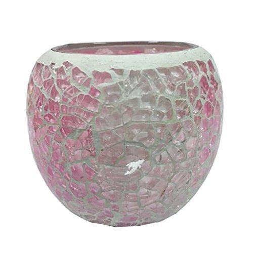 LOVIVER Kerzenhalter Schüssel Glas Kerzenständer Blumenkopf Wohnzimmer Dekoration - Rosa A