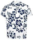 V.H.O. Funky Hawaiihemd, Kurzarm, Hibiskus, Navyblau auf Weiß New, 4XL