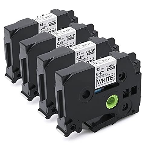 Startup 4 Pack Compatible TZe-231 TZe 231 Label Tape for Brother P touch PT-1000 GL-H105 GL-200 PT-1080 PTE-550WVP PT-P700 PT-H300, Black on White, 12mm (0.47 Inch) x 8m (26.2ft)