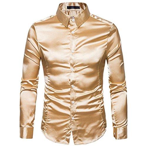 Übergröße Metallic Kostüm - Lenfesh Herren Freizeit Bluse Langarm Metallic Schlanke Stretch Shirt Hemden (Gold, L)