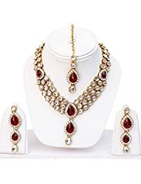 Shining Diva Red Kundan Traditional Necklace Jewellery Set with Earrings for Women (Red)(8407s)