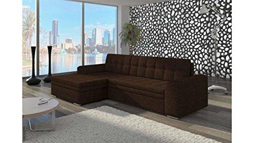 Justhome conforti divano angolare divano letto tessuto a strutturale (lxlxa): 165x270x80 cm marrone penisola a sinistra