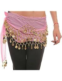 Belly Dance Bauchtanz Hüfttuch Kostüm 128 goldfarbenen Münzen Münzgürtel Fasching Karneval Tanzaufführung Gürtel in rosa / Marke PRECORN