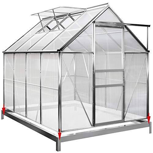 Deuba Aluminium Gewächshaus 4,75m² mit Fundament 250x190cm inkl. 2 Dachfenster Treibhaus Garten Frühbeet Aufzucht 7,63m³