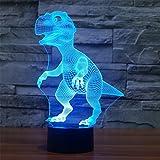 Lámpara de Ilusión Óptica 3D Dinosaurio Luces de la noche del LED, FZAI Lámpara de mesa de mesa táctil Decoración hogareña 7 colores Efectos luminosos únicos para Regalo de la Navidad de los niños
