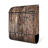 BANJADO Design Briefkasten schwarz/38x47x13cm groß mit Zeitungsfach/Stahl pulverbeschichtet/Wandbriefkasten mit Motiv Altes Holz, Briefkasten:ohne Standfuß