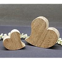 Herzen-Set aus Holz, Deko Eiche