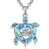 JO WISDOM Damen Kette Schildkröte Silber 925,Halskette Anhänger Tanzender Zirkonia Blau Opal Swarovski Kristall