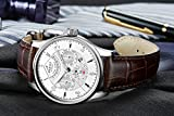 PARNIS Complication 2116 Automatik Herrenuhr Edelstahl-Armbanduhr Lederarmband MIYOTA Schnellschwinger Kaliber 9100 mit Vollkalender und Gangreserve-Anzeige - 6