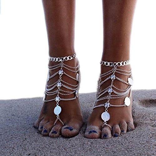 Simsly Boho Beach Fußkettchen Armband Knöchel Fuß Kette Zubehör Barfuß Sandale Verstellbar für Frauen und Mädchen (Silber/2PC) jl-071
