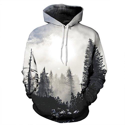 Caladele Fashion Damen Herren Sweatshirts mit Hut 3D-Bäume Hoodies Tops Hip Hop Pullover Sportswear XXL