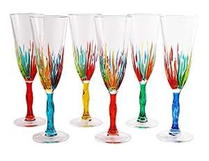 Calice flute fire murano glass prosecco champagne for Amazon oggettistica