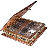"Impulse Wooden Meenakari Mukhwas Box/Dry Fruit Box/Decorative Item (8""x 8"" X 2.25"" Inches) - Multi"