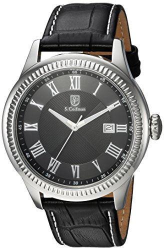 S. Coifman Men's 'Heritage' Quartz Stainless Steel and Leather Casual Watch, Color:Black (Model: SC0392)