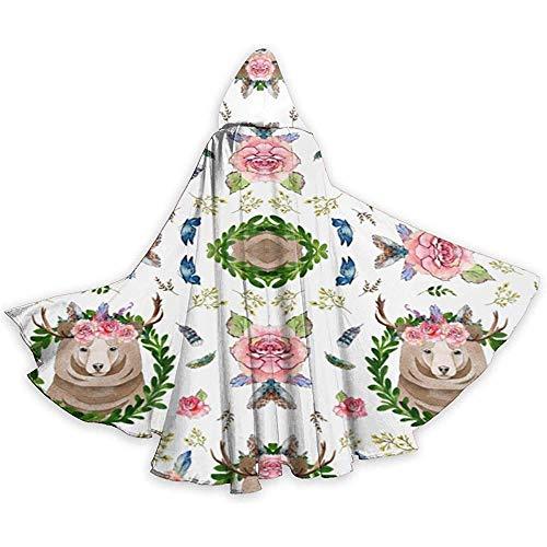 Mitta Yane Hooded Cape Kostüm Ganzkörperansicht 2 'Mountain Floral Bear Fabric (177) (Mountain Mann Kostüm Kind)