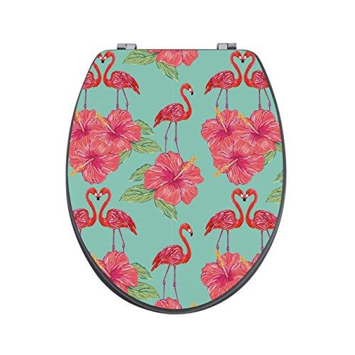 banjado Design Toilettensitz in Anthrazit | WC-Sitz Holz MDF 42,3×3,5×37,5cm | Klodeckel mit Edelstahl Scharnieren | Toilettendeckel mit Motiv Flamingo Liebe