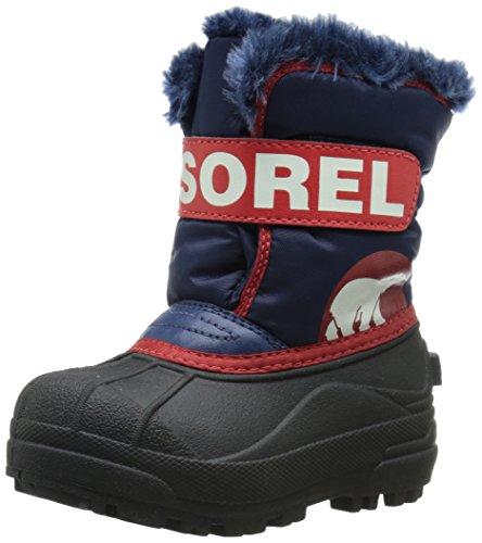 Sorel Snow Commander, Bottes de Neige fourrées mixte enfant Multicolore (Nocturne/Rouge Nautique 591)