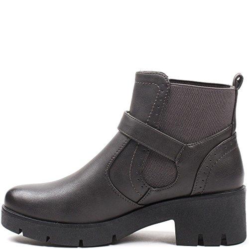 Ideal Shoes–Scarponcini stile Chelsea con cinturone Julienne Grigio