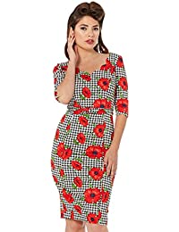 VOODOO VIXEN Eloise Poppy Print Wiggle Dress
