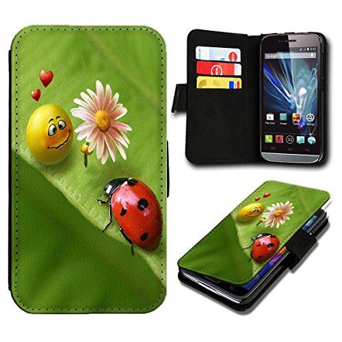 Book Style Sony Xperia E3 Premium PU-Leder Tasche Flip Brieftasche Handy Hülle mit Kartenfächer für Sony Xperia E3 - Design Flip SB474