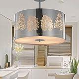 SPARKSOR Ceiling Light Pendant Light Drum Light for Living Room Bedroom Kitchen Dining room Chrome Ø40xH35cm 3x E27 max, 60W