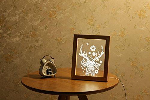ZTYR 3D acrilico tinta legno foto cornici LED decorativi notte lampada da tavolo