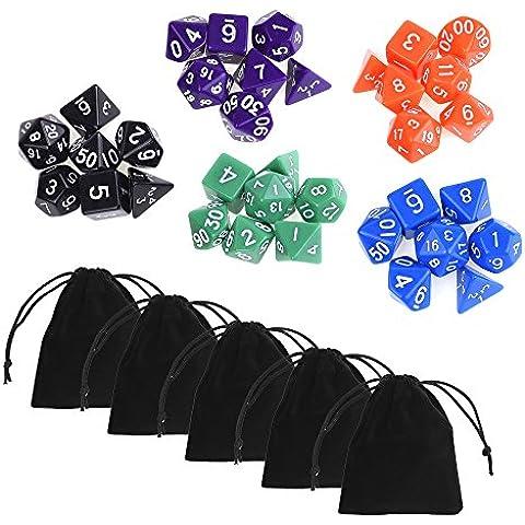 Blulu 35 Piezas Dados Poliédrica Dados Surtidos Dados al Azar en 5 Juegos Completos con Paquete de 5 Negro Bolsas para Dungeons y Dragons