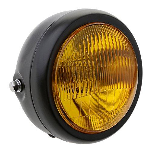 MagiDeal 7.68 Zoll Retro Motorrad Scheinwerfer Inklusiv Motorrad Scheinwerfer Deckel, Abdeckung - Gelb