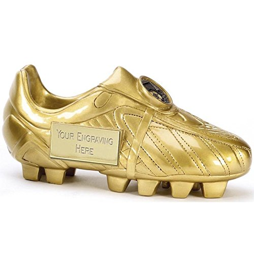 12 75cm Golden Football Boot trophy 3D Free Engraving up to 30 Letters
