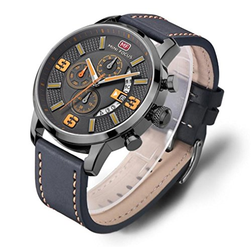 MINI FOCUS Herren Sport Quarzuhren Herrenuhren Top Marken Luxus Leder Chronographen Armbanduhren Relogio Masculino MF0025G , 01 yellow gray shell grey belt