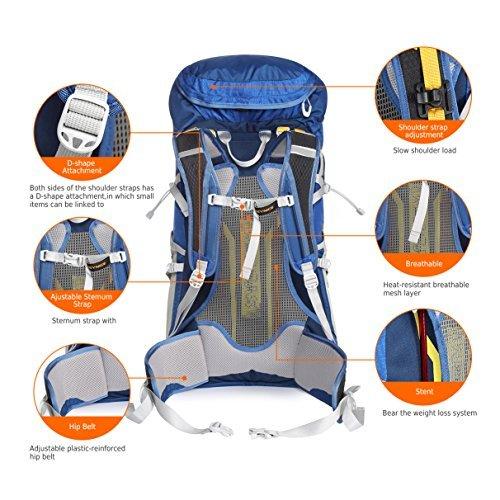 Keynice 50L Trekkingrucksäcke Wanderrucksack Lightweight Wasserdicht Hiking Backpack for Outdoor Sports … KN-3061-BU
