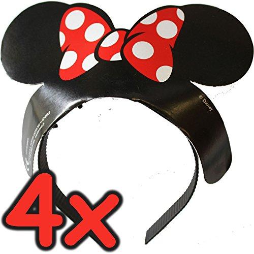 4 x Tiaras Minnie Mouse ┃ Ohren + Schleife ┃ für Kinder und Erwachsene ┃ Werden Sie zur Minni Maus ✔
