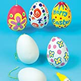 Ostereier aus Keramik zum Gestalten und Aufhängen für Kinder zum Basteln zu Ostern (4 Stück)
