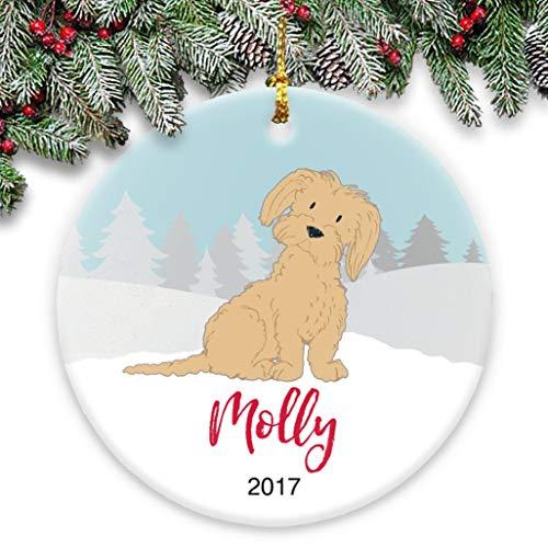 Dozili Keramik-Ornament Malteser Hund (braun) - personalisiert mit Name und Jahr (R2d2 Kostüm Hund)