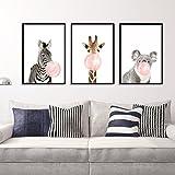 LA VIE 3 Teilig Wandbild Süße Zebra Giraffe Koala mit Kaugummi Ölbild Leinwanddrucke Bilder Gemälde Moderne Kunstdruck für Zuhause Wohnzimmer Schlafzimmer Kinderzimmer Küche Hotel Büro 40x60 CM