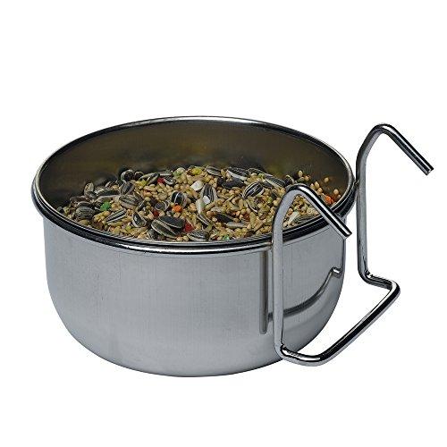 Mangeoire en acier inox Sirio Ferplast pour perroquet Modèle L 302 Contenance 0,5 litre